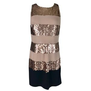Donna Ricco Cocktail Dress Sequin Taupe Black NWT